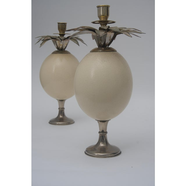 Ostrich Egg Candleholders - a Pair For Sale - Image 4 of 5