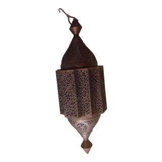 Turkish Bronze Pierced Pendant Light For Sale