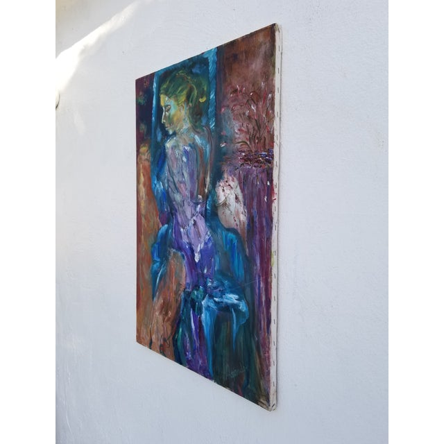 80's Abstract Nude Woman Painting For Sale - Image 4 of 12