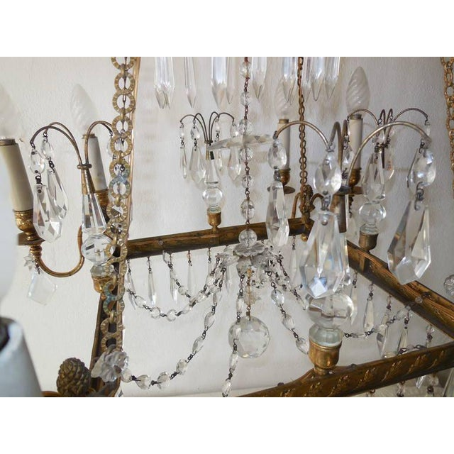 Late 19th Century 19th Century French Neoclassical Crystal and Bronze Chandelier with Spears For Sale - Image 5 of 11
