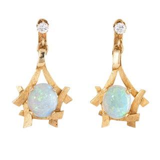 """1970s Opal Diamond Earrings 14k Yellow Gold Dangle 1.5"""" Clip On For Sale"""