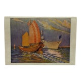 """Image of Vintage Color Print, """"Ships - Old and New"""" by Burbank For Sale"""