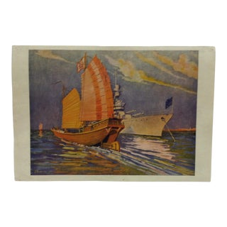 """Vintage Color Print, """"Ships - Old and New"""" by Burbank For Sale"""