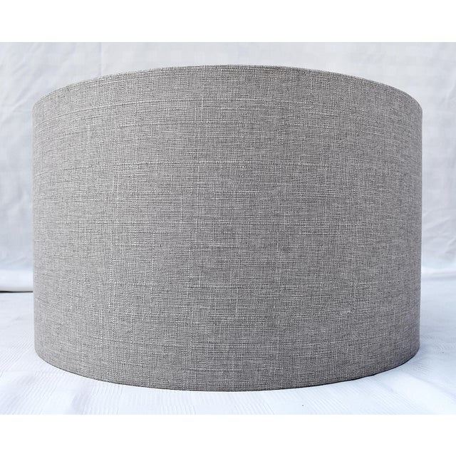 Boho Chic Grey Linen Drum Shade For Sale - Image 3 of 4