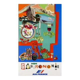 1980 Original Air France Travel Poster, Gastronomie For Sale