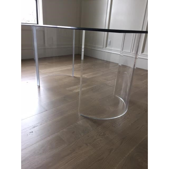 Transparent Vintage Lucite Base Dining Table For Sale - Image 8 of 10