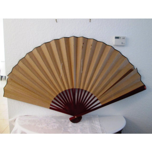 Asian Blue Bird & Floral Gold Paper Wall Fan - Image 7 of 8