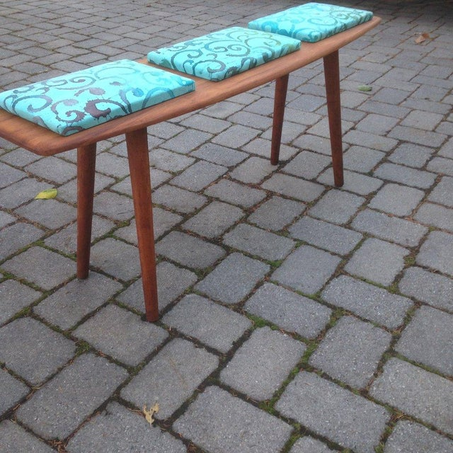 Teak and Batik Three Seater Bench - Image 4 of 6