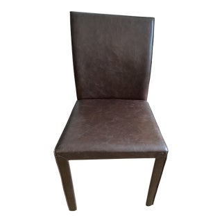 Crate & Barrel Folio Saddle Top Grain Leather Dining Chair For Sale