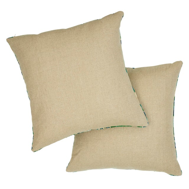 Schumacher Schumacher Bezique Flamestitch Velvet Pillow in Blue & Green For Sale - Image 4 of 7