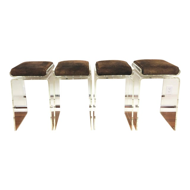 1970s Charles Hollis Jones Attributed Waterfall Lucite Swivel Bar Stools / Chairs, Set of 4 For Sale