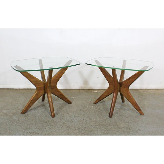 Pair of Mid-Century Danish Modern Adrian Pearsall 'Jacks' Glass Top End Tables For Sale - Image 13 of 13