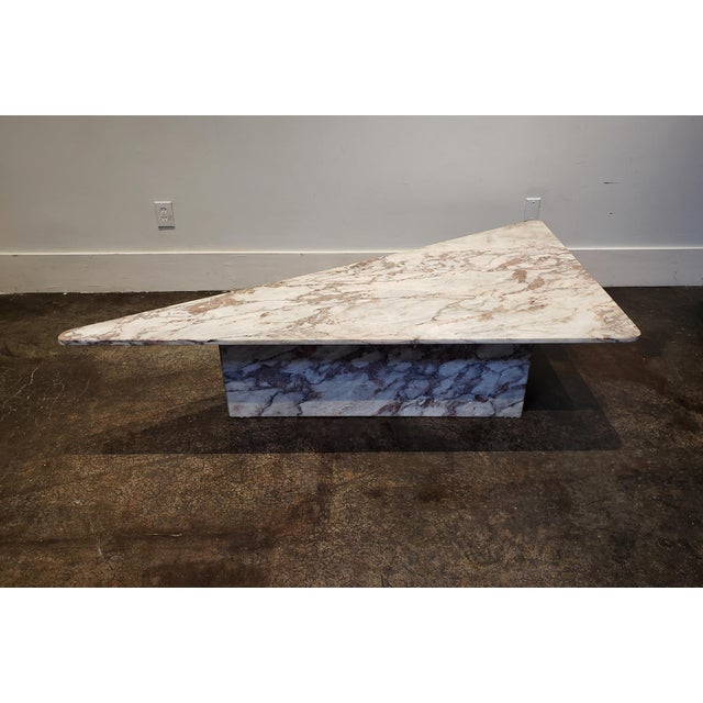 Mid-Century Modern 1970s Triangular White Marble Italian Coffee Table For Sale - Image 3 of 11