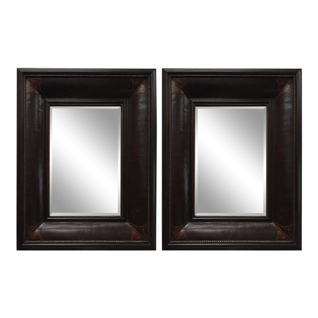 Leather Wrapped Mirrors, Pair For Sale