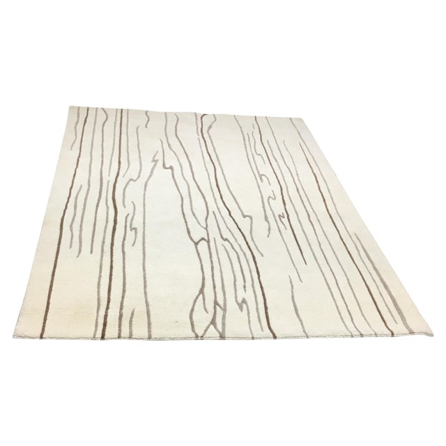 """Wool Rug With Wood Design Motif - 4'9"""" X 7'5"""" - Image 1 of 5"""