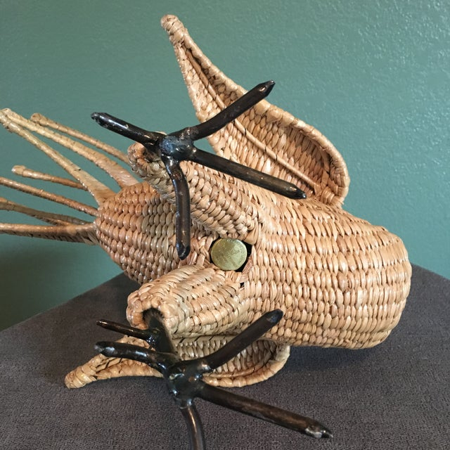 Black Mario Lopez Torres Vintage Mid-Century Rattan Reed Wicker Chicken Sculpture For Sale - Image 8 of 12