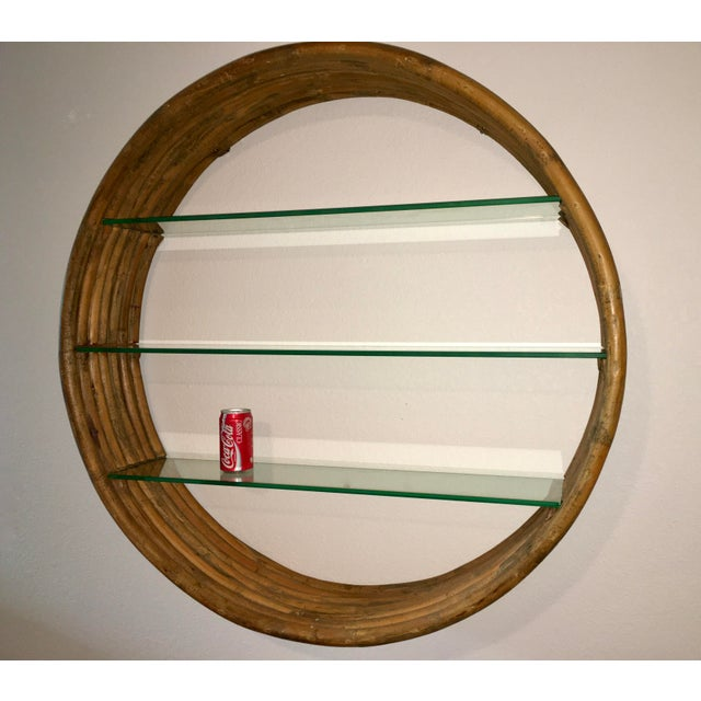 Mid Century Paul Frankl Large 7-Strand Bamboo Rattan Circular Wall Shelf Unit For Sale - Image 9 of 12