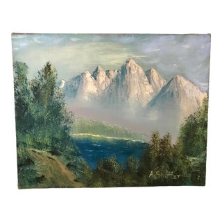 Vintage Mid-Century Original Landscape With Mountains Painting For Sale