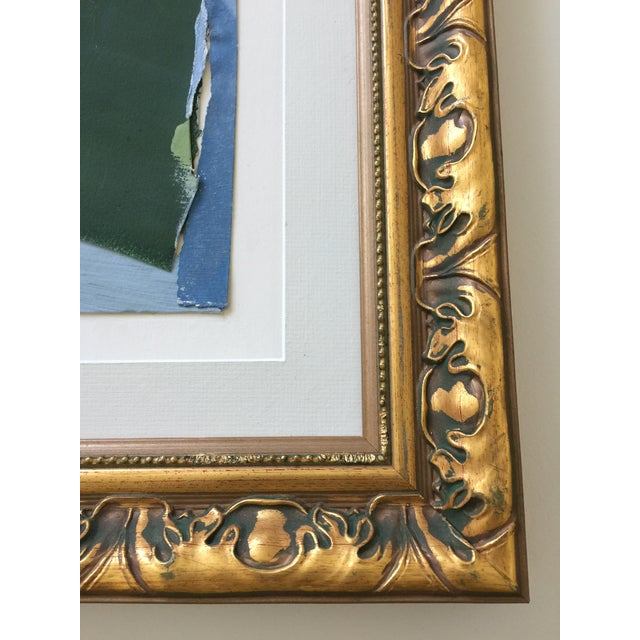 2010s Abstract Painting Collage Blue and Green For Sale - Image 5 of 6