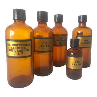 Vintage Early 1900's Rare Amber Glass Antique Apothecary Bottles - Set of 5 For Sale