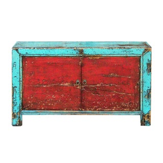 Vibrant Dual Colored Lacquered Asian Cabinet For Sale