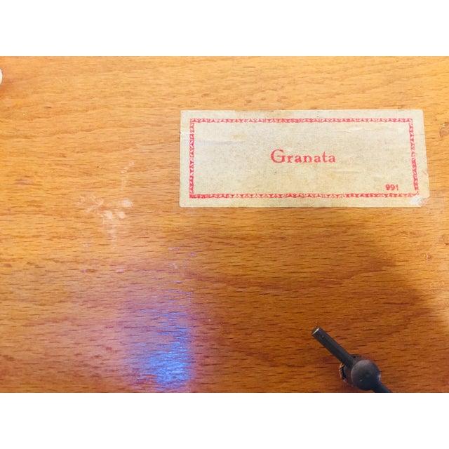 Vintage Moorish Spanish Granada Mother of Pearl Inlay Cigarettes Music Box For Sale - Image 4 of 13