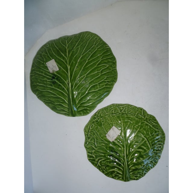 Majolica Barbara Eigen Cabbage Leaf Dishes - A Pair For Sale - Image 4 of 6