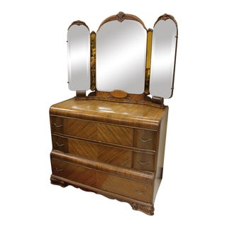 1960s Art Deco Stunning Waterfall Dresser With Mirror For Sale