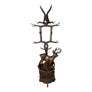 "Large 78"" Black Forest Carved Hall Stand, Eagle and Stag For Sale"
