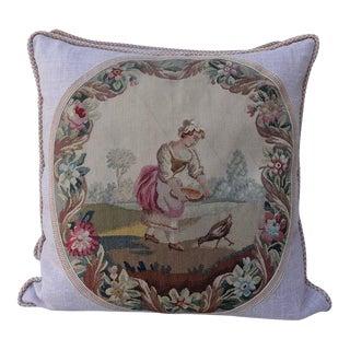 19th C. Aubusson Textile Pillows - A Pair For Sale