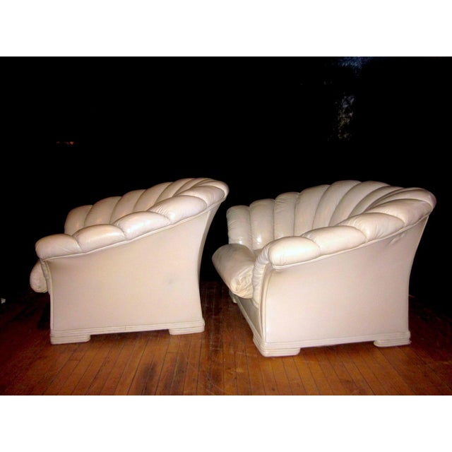 1930s 1930s Vintage French Art Deco Scalloped Back Clamshell Leather Lounge Chair- a Pair For Sale - Image 5 of 11