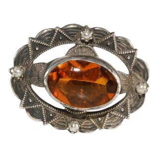 Amber Glass and Faux Pearl Sterling Silver Hatpin Hat Pin Antique For Sale