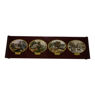 Vintage Currier & Ives Four Seasons Warming Tray / Hot Plate