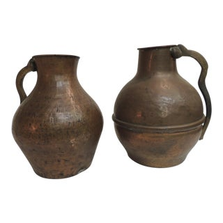 Heavy Patinated Persian Copper Water Jugs with Handles - a Pair