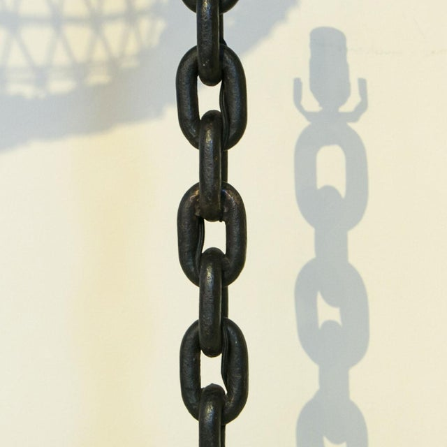 1950s Handmade Iron Chain Table Lamp For Sale - Image 5 of 6