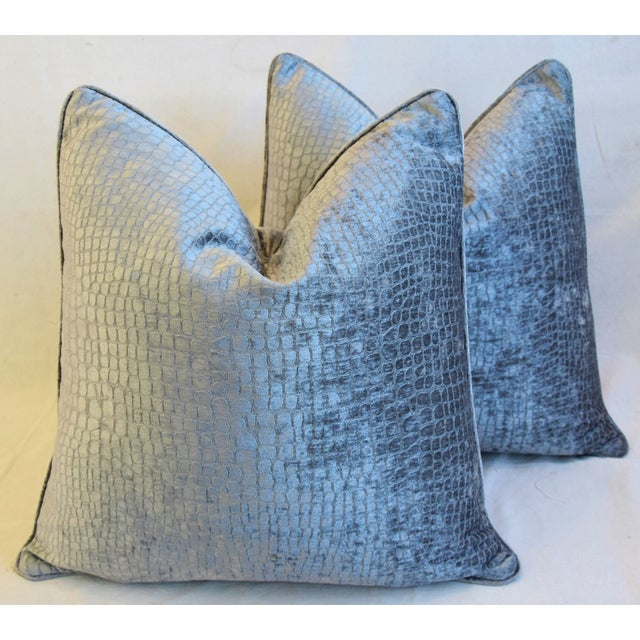 """Textile Gray/Silver Crocodile Alligator Textured Feather/Down Velvet Pillows 23"""" Square - Pair For Sale - Image 7 of 12"""