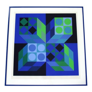 Mid Century Modern Framed Signed Numbered Op Art Litho Print Victor Vasarely For Sale