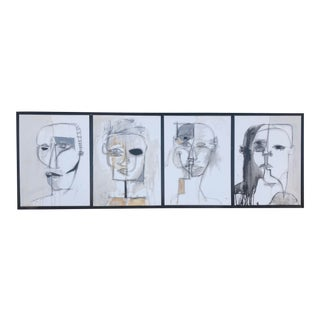 4 Heads in Black and White Original Adam Henderson Painting For Sale