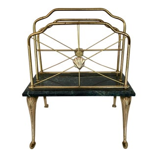 Vintage Brass & Marble Magazine Rack For Sale