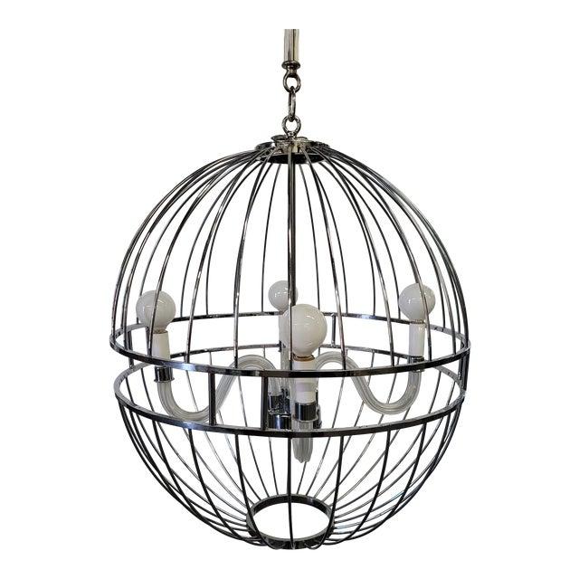 Paul Marra Design Polished Nickel Sphere Chandelier For Sale