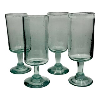 1970s Brutalist Hand-Blown Bubbled Stemware - Set of 4 For Sale