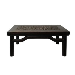 Brown Oriental Round Legs Dragon Rectangular Display Table Stand For Sale