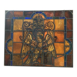 Mid 20th Century German Stained Glass Eagle Panel
