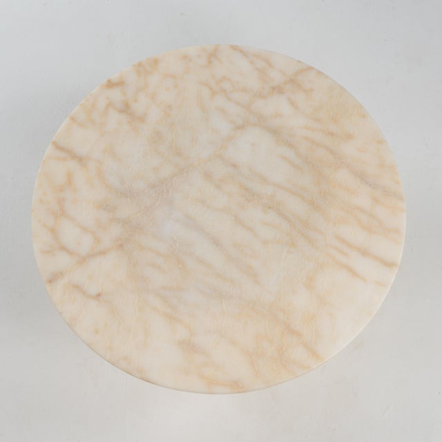 Hollywood Regency Round Alabaster Coffee Table on a Drum Base For Sale In Philadelphia - Image 6 of 13