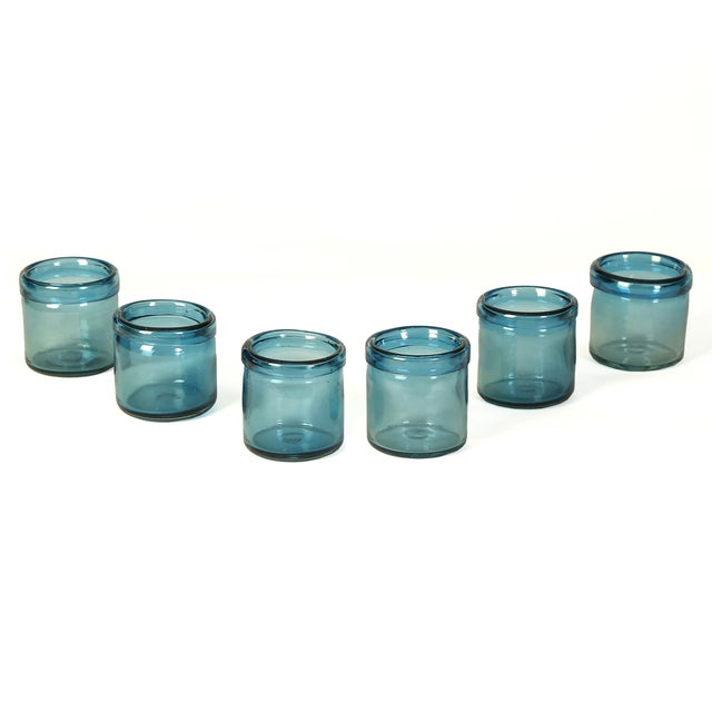 Hand-Blown Blue Glass Votive Holders - Set of 6 - Image 3 of 5