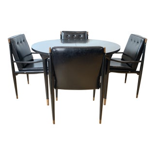 1950s Italian Ebonized Black Walnut Extension Dining Table & Chairs Set For Sale