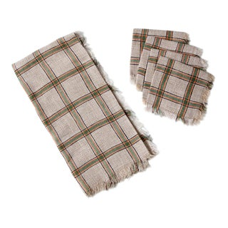 Vintage Plaid Table Cloth and Napkins - Set of 5 For Sale