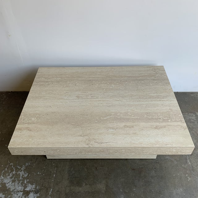 1980s Faux Travertine and Brass Coffee Table For Sale - Image 5 of 12