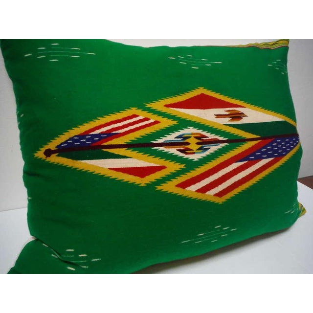 Folk Art Large Patriotic Mexican Indian Weaving Bolster Pillow For Sale - Image 3 of 6