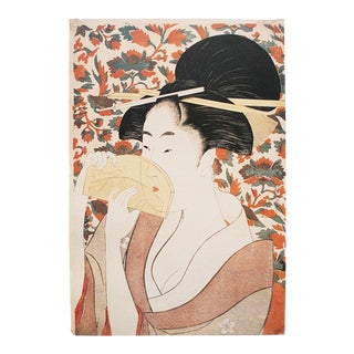 1980s Kitagawa Utamaro Beauty Holding a Comb Reproduction Print For Sale